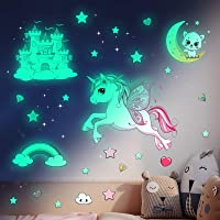 Lichtgevende sterren zelfklevende muursticker kinderkamer meisjes eenhoorn muursticker sterrenhemel sticker prinses…