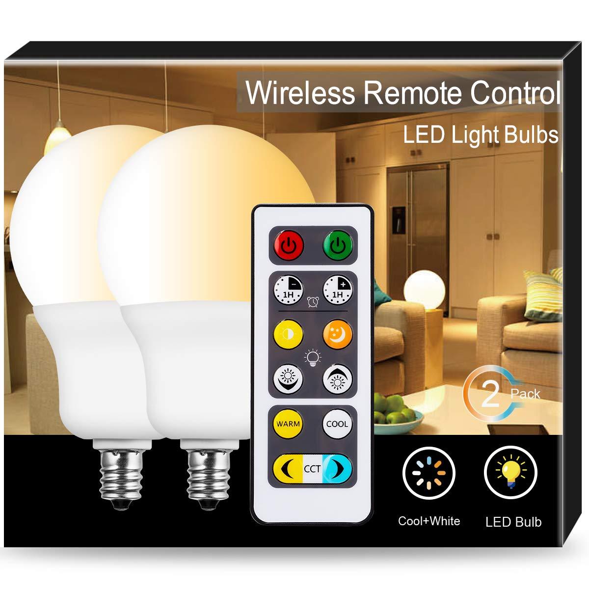 JandCase 調整可能 LED電球 A19 調光機能付き電球 6W リモコン付き燭台電球 60W相当 温白色 2700K-6500K 500lm 家庭/オフィス照明用CCTライト E12ベース 2個パック B07L87VCPD