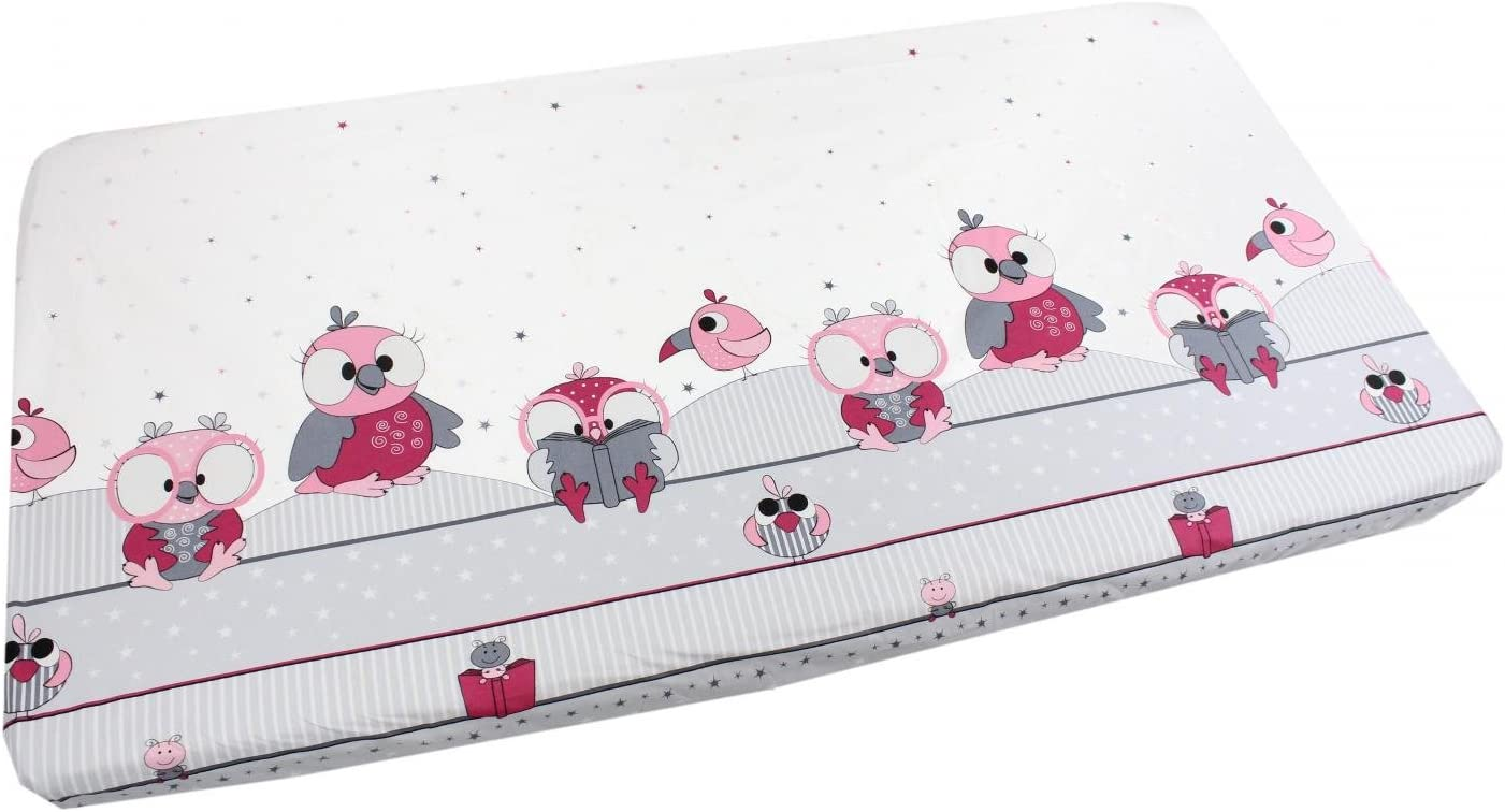 60 x 120 cm White TupTam Baby Bed Crib Cot Fitted Sheets with Printed Designs