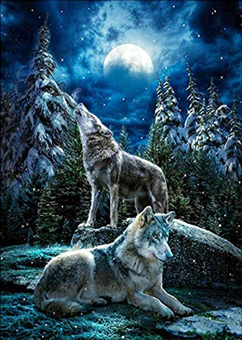 CROSS STITCH CHART MOONLIT WOLF # 3
