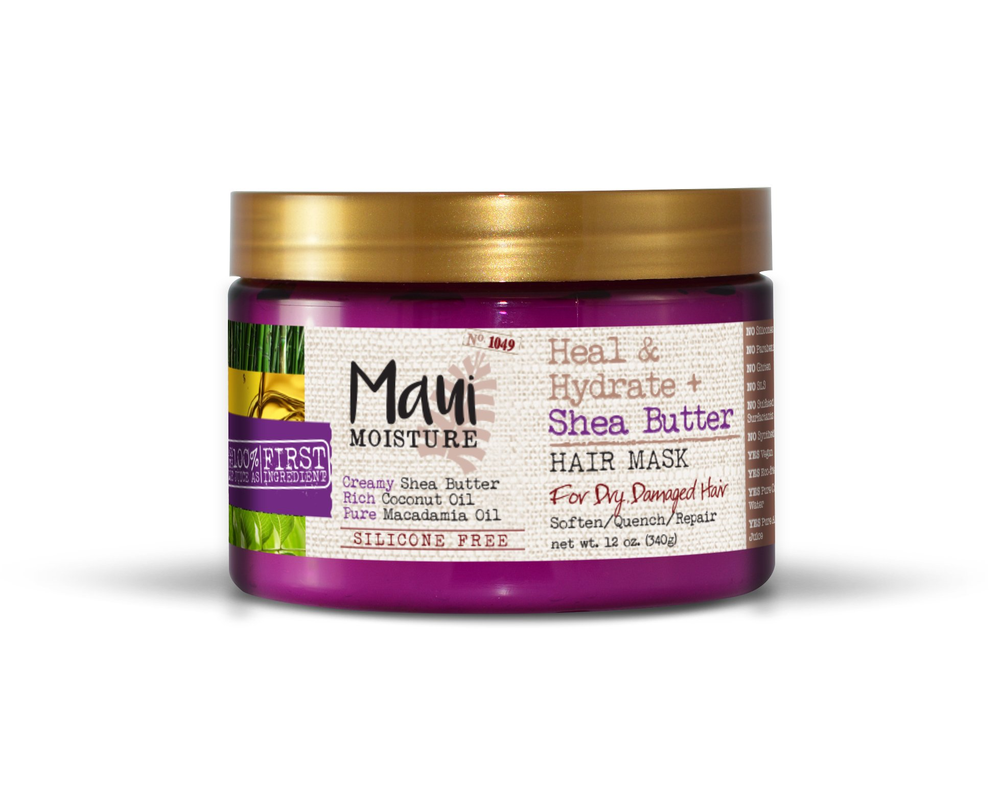 Maui Moisture Heal & Hydrate + Shea Butter Hair Mask, 12 Ounce, Silicone Free with Shea Butter and Coconut Oil, For Softer Feeling Hair with Less Visible Split Ends, Can Be Uses as Leave In Treatment
