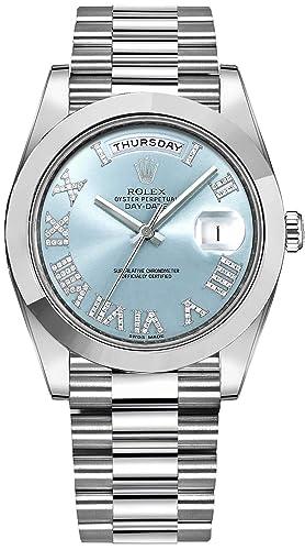 Para hombre Rolex Day-Date Platinum 41 mm Reloj con números romanos de diamante marcadores de hora - ref # 218206: Amazon.es: Relojes