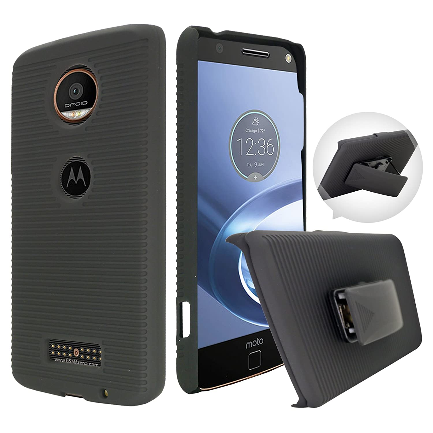 los angeles dc4cd c9013 Moto Z Force Case, Customerfirst, Rugged Impact Armor Hybrid Kickstand  Cover with Belt Clip Holster Case for Lenovo Moto Z Force 5.5-inch Free  Emoji ...