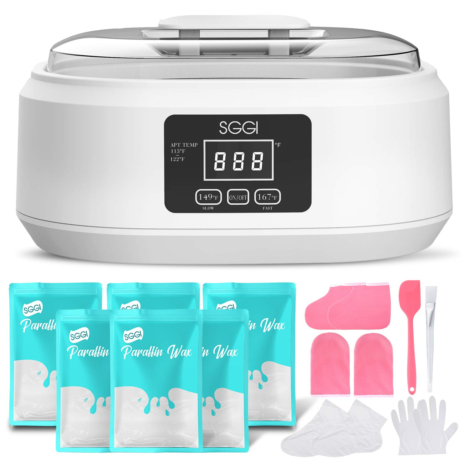 SGGI Paraffin Wax Machine Touchscreen 3000ML,6 Packs of Wax 2.6lb for Hand and Feet, Moisturizing Paraffin Spa Wax Bath Kit,Large Capacity at Home for Smooth and Soft Skin,Gift for women-Scent Free