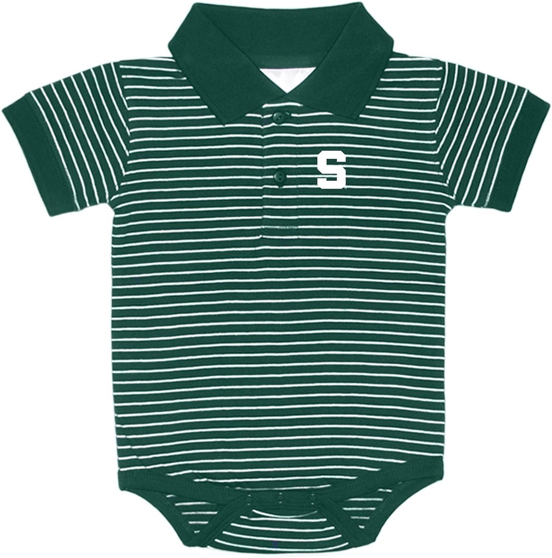 Michigan State Spartans Striped NCAA College Newborn Infant Baby Creeper