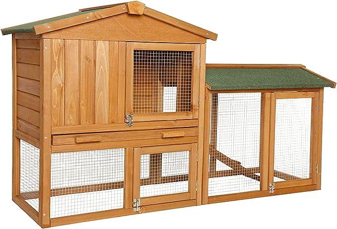 Dibea Conejera Refugio para Mascotas pequeñas Chalet Conejos 147x52x85 cm