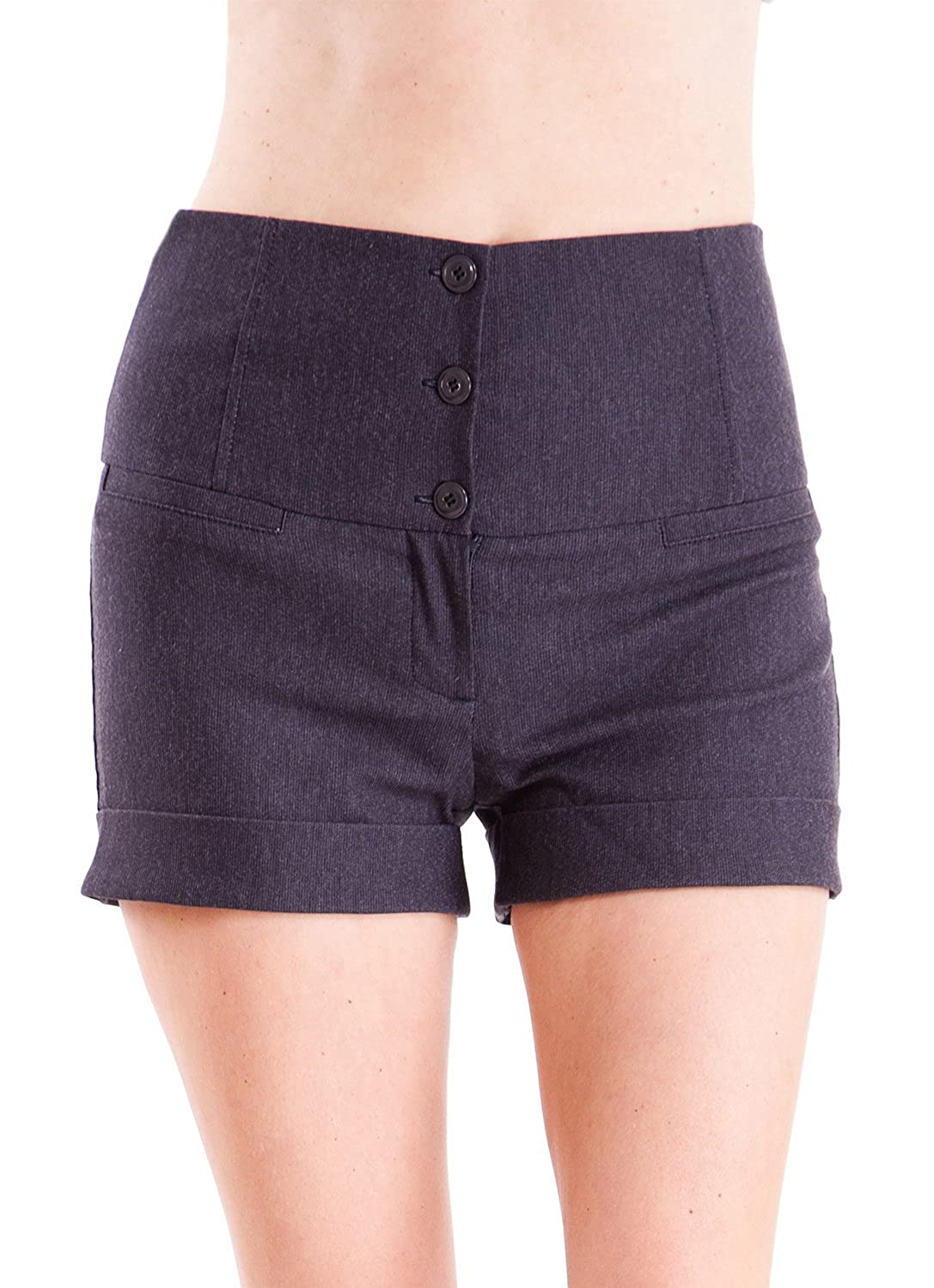 Clothes Effect Ladies High Waist 3 Button Fly 4 Pocket Shorts, Multiple Colors Avail