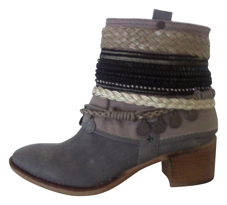 Trachten Sneakers Stiefeletten Stiefel Damen Schuhe Freizeitschuhe Wanderschuhe Silber Grau Lederimitat(39)