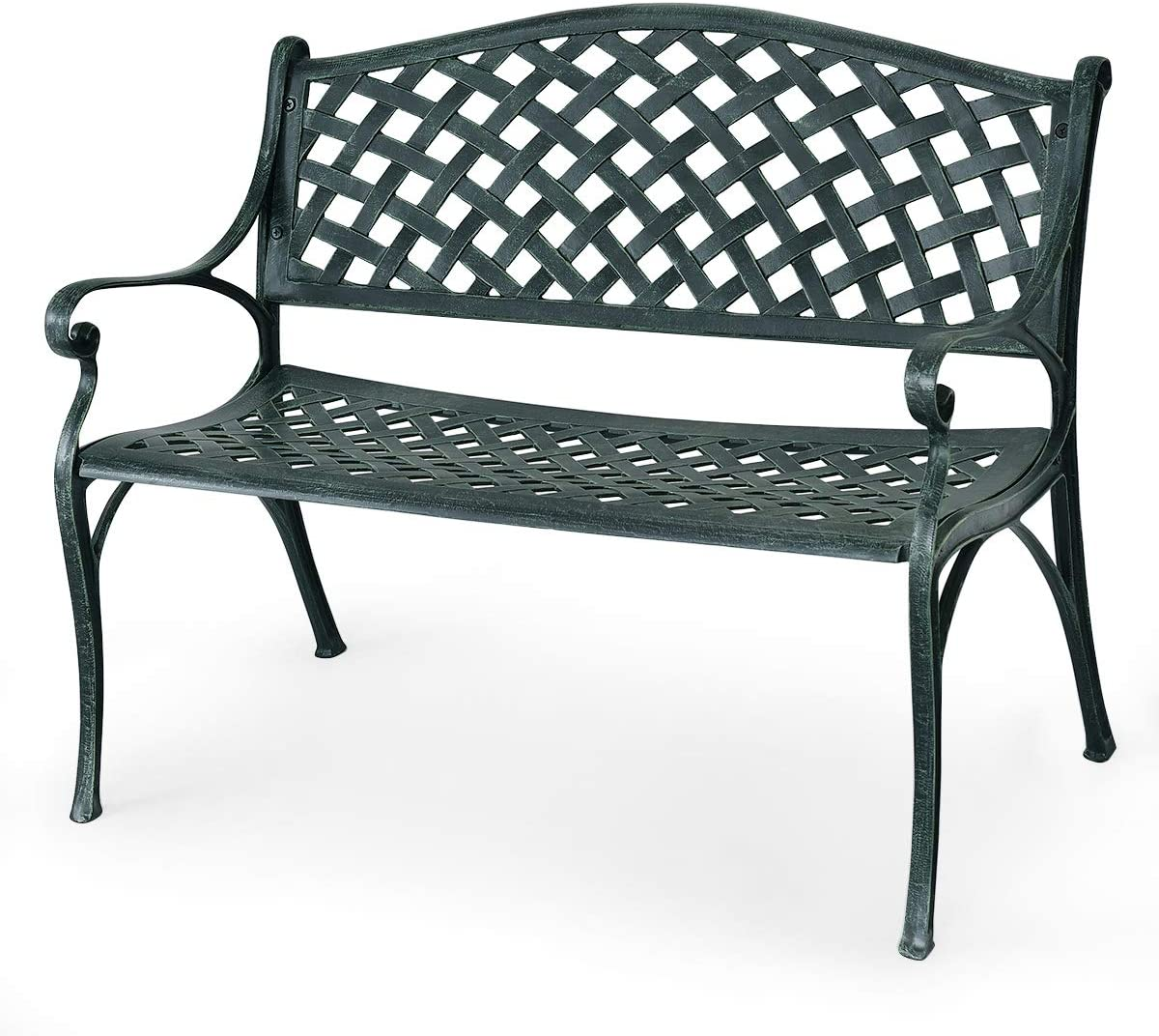 "Giantex 40"" Outdoor Antique Garden Bench Aluminum Frame Seats Chair Patio Garden Furni(Ancient Green)"