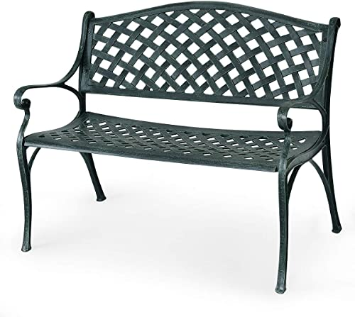 Giantex 40″ Outdoor Antique Garden Bench Aluminum Frame Seats Chair Patio Garden Furni Ancient Green