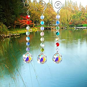 SunAngel Colored Crystals Prisms Suncatchers Hanging Ornament Octogon Chakra Crystal Pendants for Home,Office,Garden Decoration(AB Color)