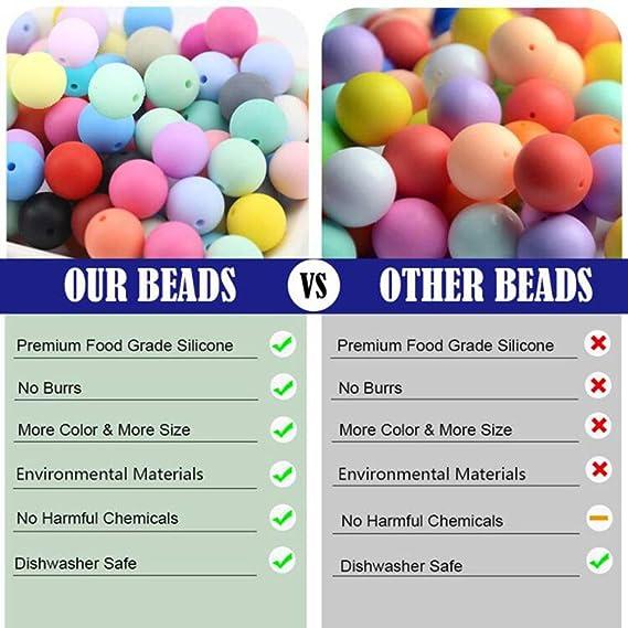Color mezclado Natural Cuentas de silicona Sin BPA No t/óxico Beb/é dientes Bricolaje Collar Pulsera Accesorios Juguetes de bebe Best for baby 50pcs 12mm
