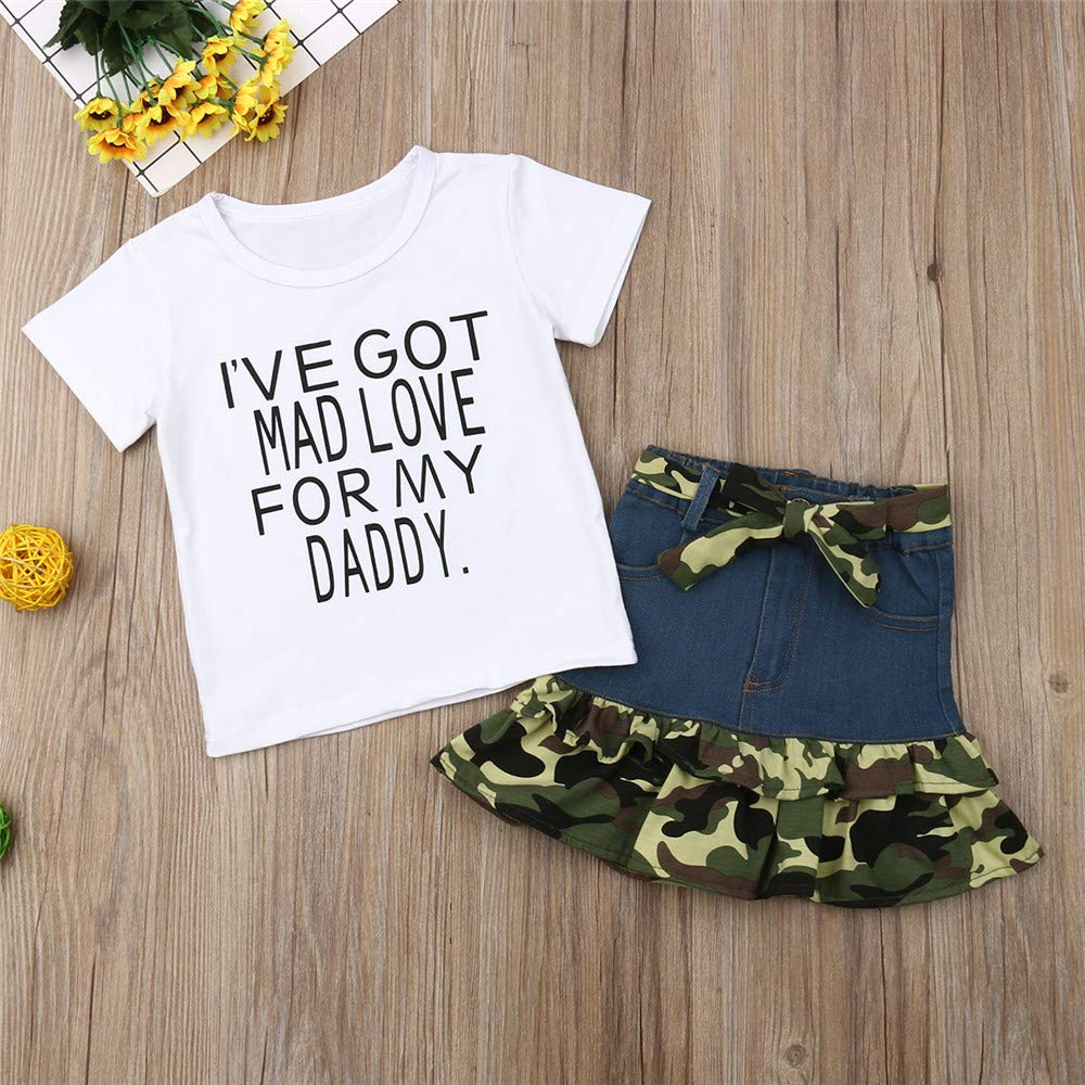 2Pcs Toddler Baby Girls Camouflage Clothes Outfit Black Tops T-Shirt Skirt Dress Summer Clothing Set