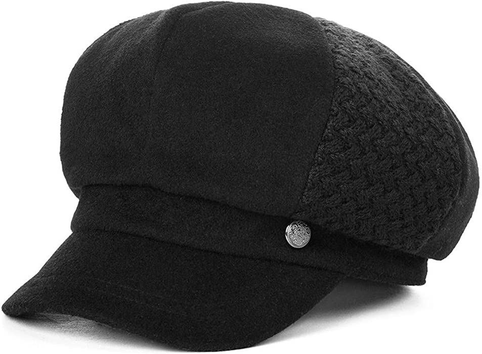 Wool Blend Newsboy Hats Caps Women Winter Painter Visor Casquette Gavroche Vintage Gorras, Black at Amazon Womens Clothing store: