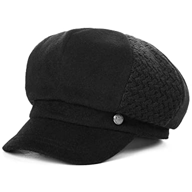 Wool Blend Newsboy Hats Caps Women Winter Painter Visor Casquette Gavroche Vintage Gorras,Black