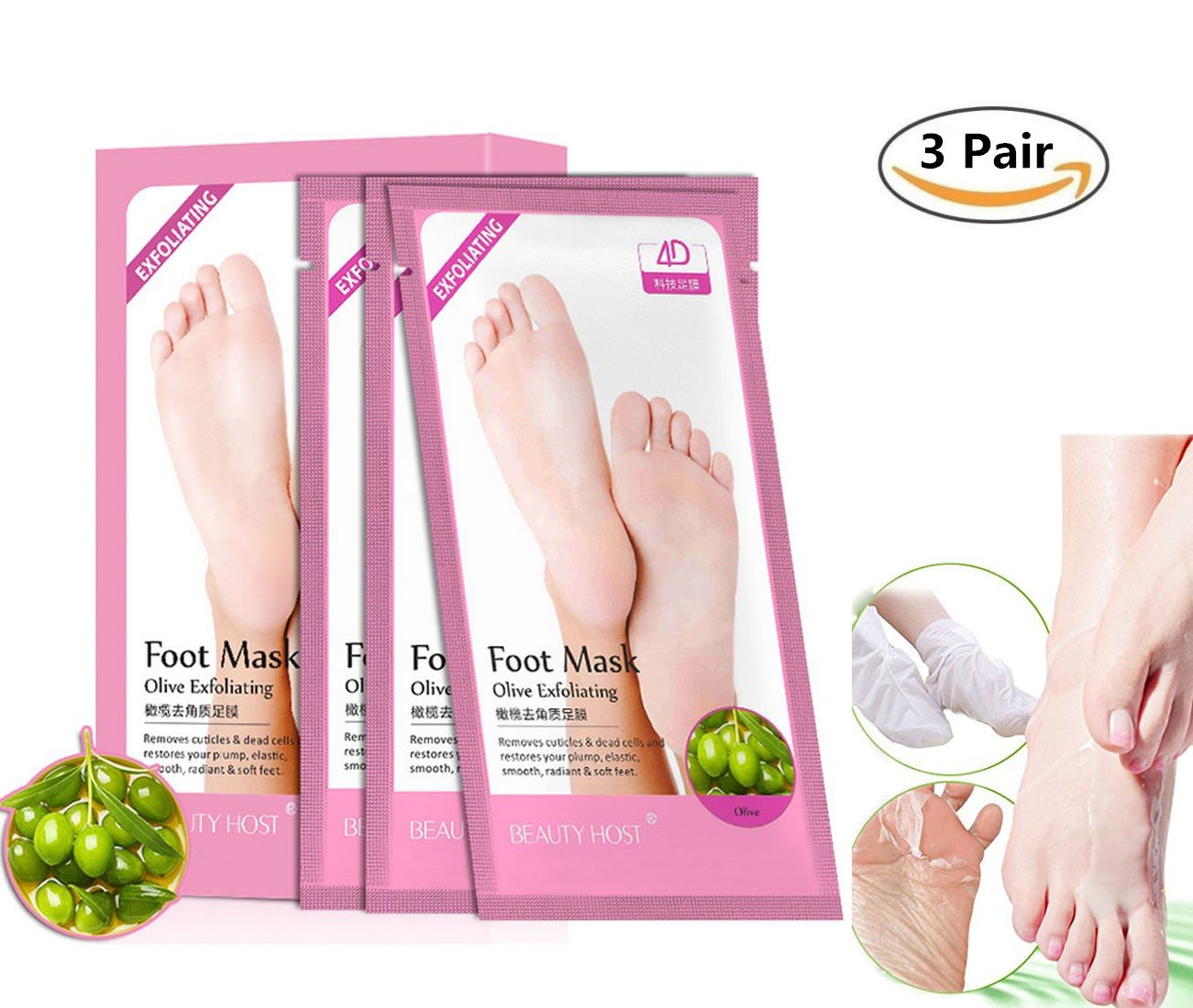 Foot Peeling Mask, ONEGenug 3 Pair Exfoliating Feet Mask, Olive Oil Essence Peeling Mask, Remove Calluses / Cracks / Rough, Get soft Baby Feet in 1 Week