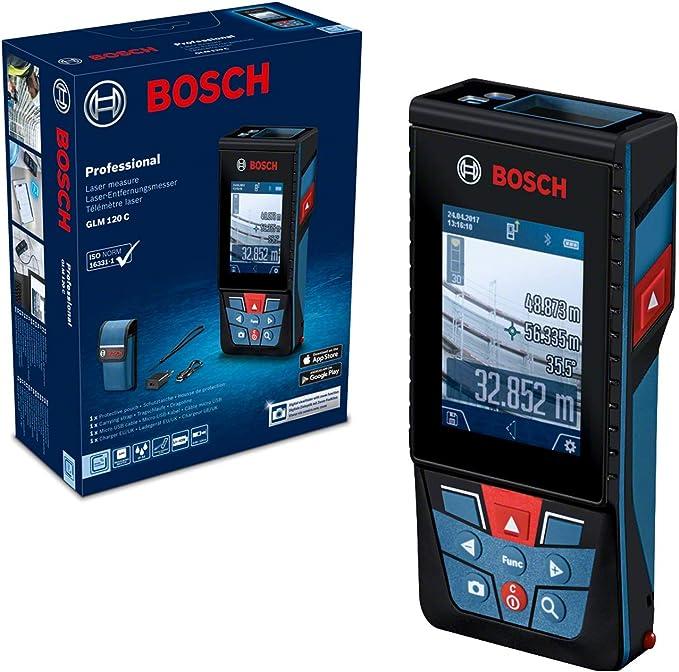 Bosch GLM 120 C Professional Laser Entfernungsmesser mit Kamera Stativ BT150