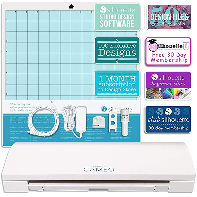 Silhouette Teal Cameo 3 Bluetooth Bundle with 12x12 Inch Oracal 651 Vinyl Guide Books Online Class 24 Sketch Pens