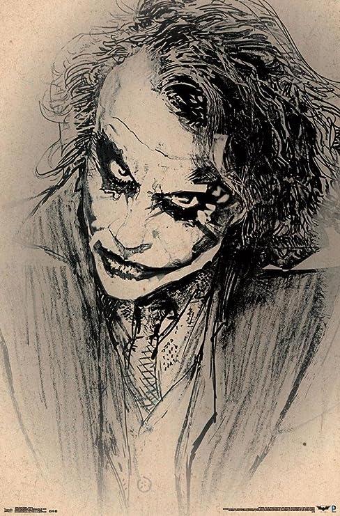 Batman Dark Knight Joker Poster Amazing Sketch Heath Ledger Rare Hot New 22x34