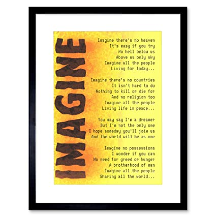 9x7 IMAGINE MUSIC JOHN LENNON LYRICS QUOTE FRAMED ART PRINT F97X441
