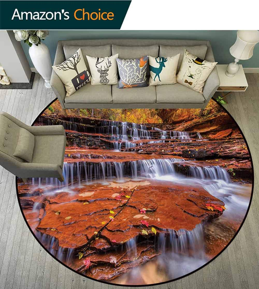 RUGSMAT National Parks Modern Machine Round Bath Mat,Wide Angle Shot of The Waterfalls Stream West Canyon Falls in The Autumn Season Non-Slip No-Shedding Kitchen Soft Floor Mat,Round-71 Inch