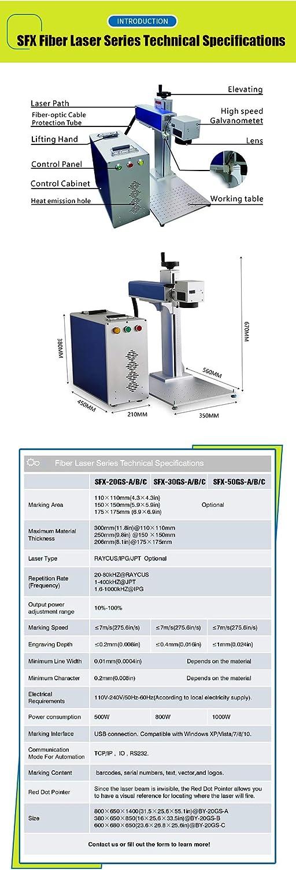 30 W Rotationsachse 150 x 150 mm Laser-Markiermaschine f/ür Metall//Nichtmetall