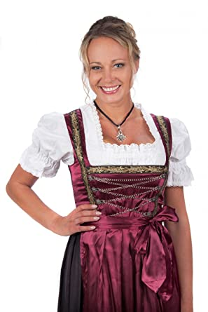 e2b401206c70e Bavarian Women s Midi Dirndl dress 3-pieces with apron and blouse black red