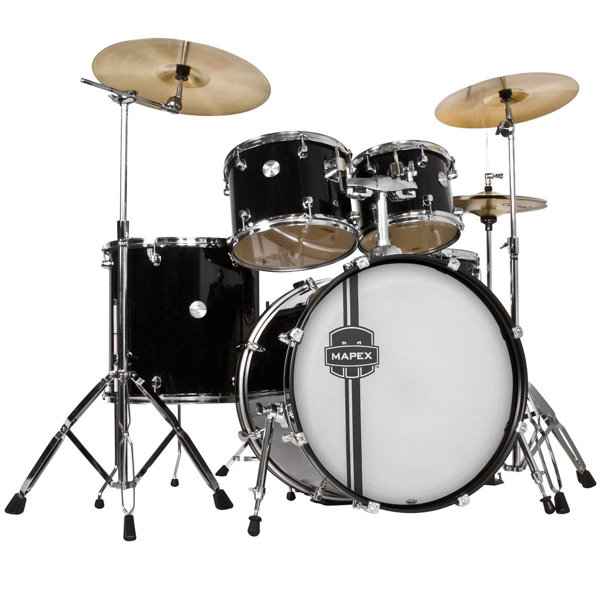 MAPEX VR5295TDKZZ Voyager Rock 5-Piece Drum Set with Cymbals, Black by Mapex (Image #1)