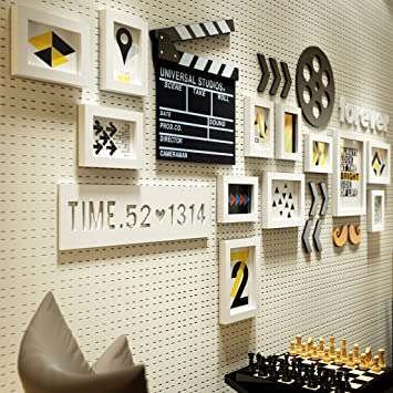 Unbekannt 12 Multi Bilderrahmen Set Industrial Style Minimalistischen Holz  Foto Wand Schlafzimmer Studie Wohnzimmer Wand Bilderrahmen