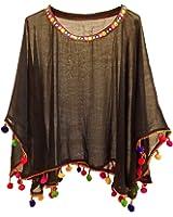 CHAKUDEE Women's top Georgette Ponchos & Cape top (Multi Color Pom Poms_Free Size)