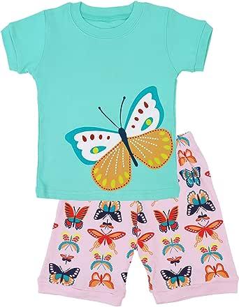 DHASIUE Girls Pajamas Toddler Kids Shorts Sets 100% Cotton Sleepwear Summer Clothes for Age 1-7 Years