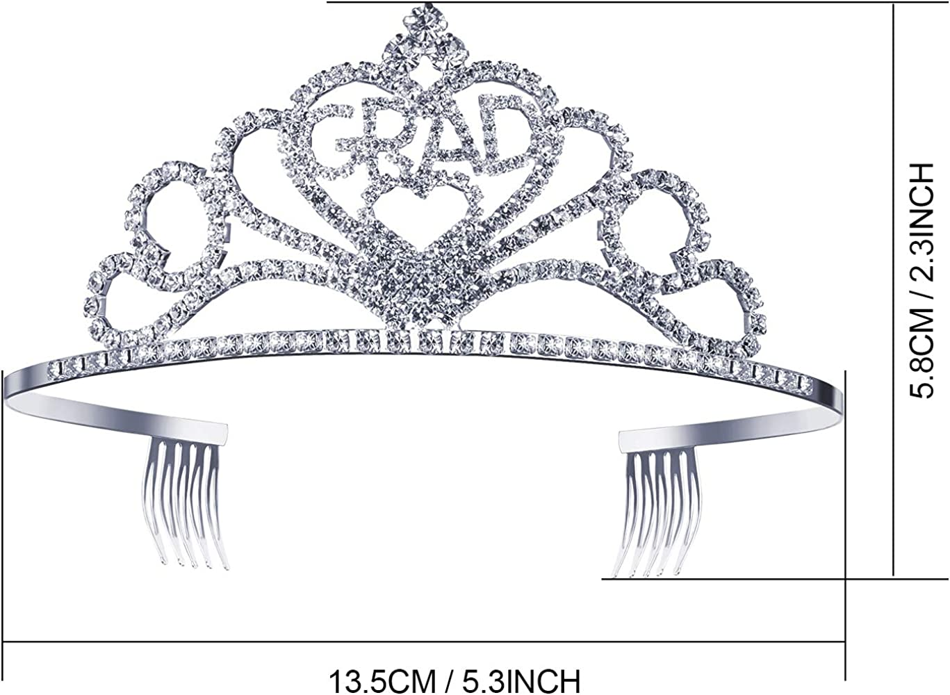 Black Glittered Metal Graduation Princess Grad Crown Tiara and Graduated Sash 2020 Graduation Party Supplies Kits Great Gifts for Graduation Party Decorations Grad Decor Favors