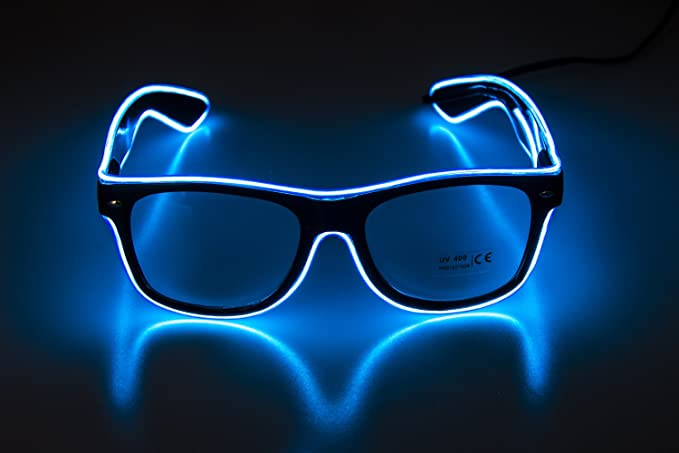 d2abb6cc132 Image Unavailable. Image not available for. Color  Glow Eye Glasses masks LED  Light Up ...