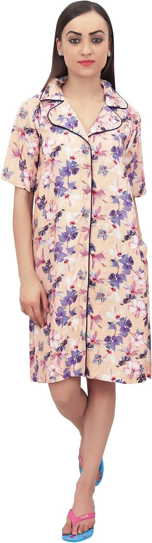 Details about  /Bimba Women Floral Printed Short Sleeve Brown Sleepshirt Nightwear-nPA