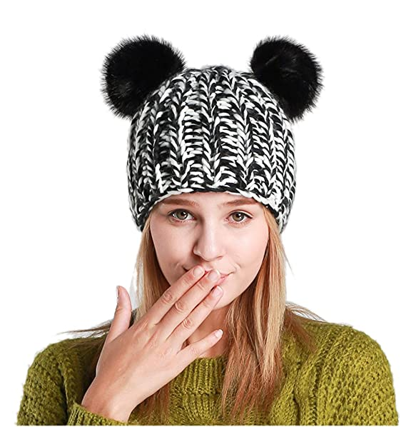c6fb889f Image Unavailable. Image not available for. Color: EINSKEY Winter Panda Beanie  Hat, Cute Bear Ear Knit Cap for Girls/Women
