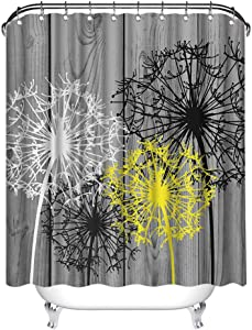Zlove Bath Flowers White Yellow Dandelion Shower Curtain Floral Artwork Waterproof Polyester Fabric Bath Curtain for Bathroom Decor with 12 Pack Plastic Hooks 72x72inch