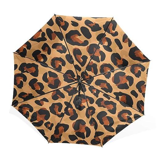 EZIOLY - Paraguas de Viaje, diseño de Leopardo, Ligero, antirayos UV, para Hombres, Mujeres y niños, Paraguas Plegable y Resistente al Viento: Amazon.es: ...