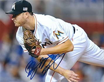 4e38453dfda Bryan Morris Signed 8x10 Miami Marlins Photo - Autographed Baseball ...
