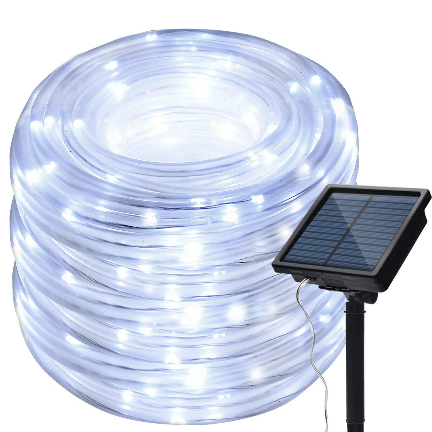 IMAGE 8 Modes Solar Rope String Lights, 13m 42.6Foot 100LED,2400mah High Capacity Battery Starry Fairy Lights for Indoor/Outdoor Decorations/Garden/Patio/Party-White