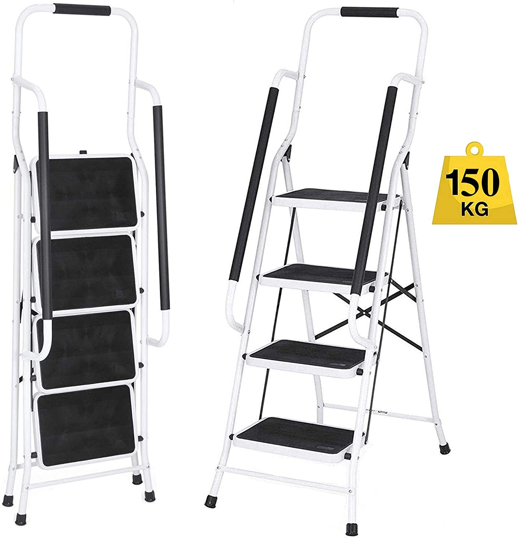 Escalera de suelo para desván de hasta 1,5 m para techos, antideslizante, 4 peldaños con pasamanos de seguridad de 150 kg de capacidad: Amazon.es: Bricolaje y herramientas