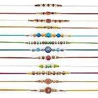 Hathkaam Rakhi voor broer Set van 12 Rakhee Armband voor Bhai Bhaiya Stijlvolle Armband Happy Raksha Bandhan Designer…