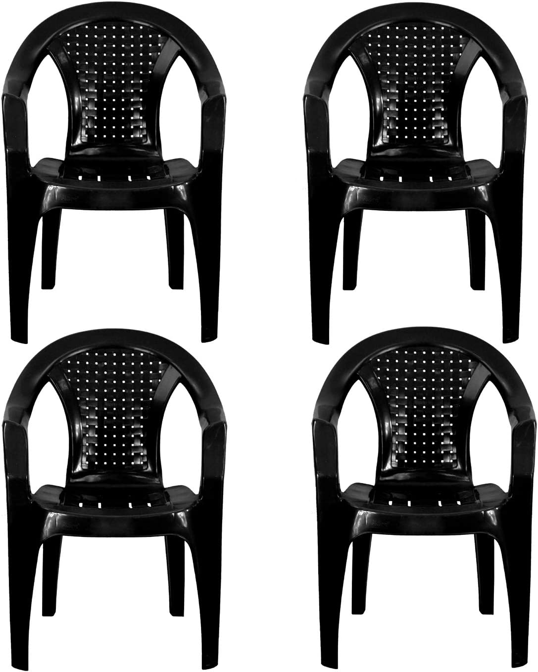 Plastic Garden Chairs - BLACK Set of 10 - Stackable with Woven