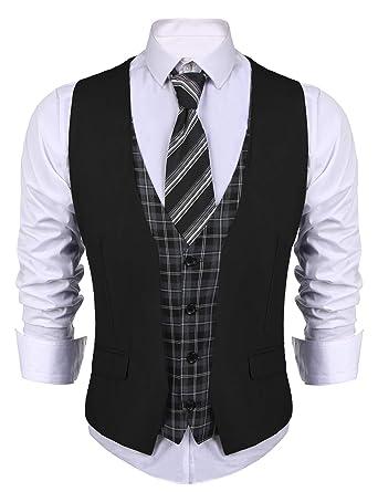 6f539ea1de COOFANDY Men's Dress Suit layered Vest V Neck Plaid Patchwork Wedding  Waistcoat, Black, Small