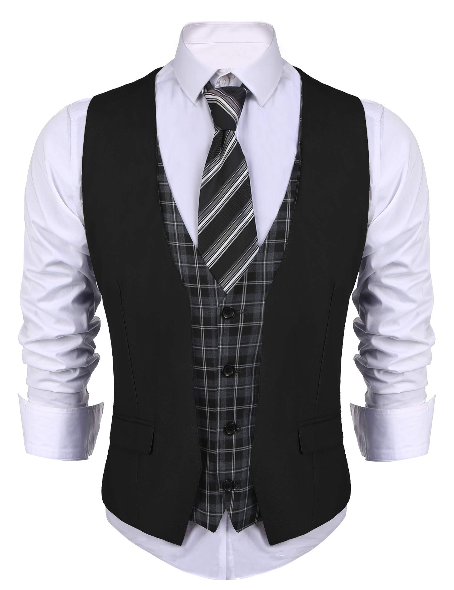 COOFANDY Men's Business Suit Vest layered Plaid Dress Waistcoat for Wedding, Date, Dinner (XXX-Large, Black)