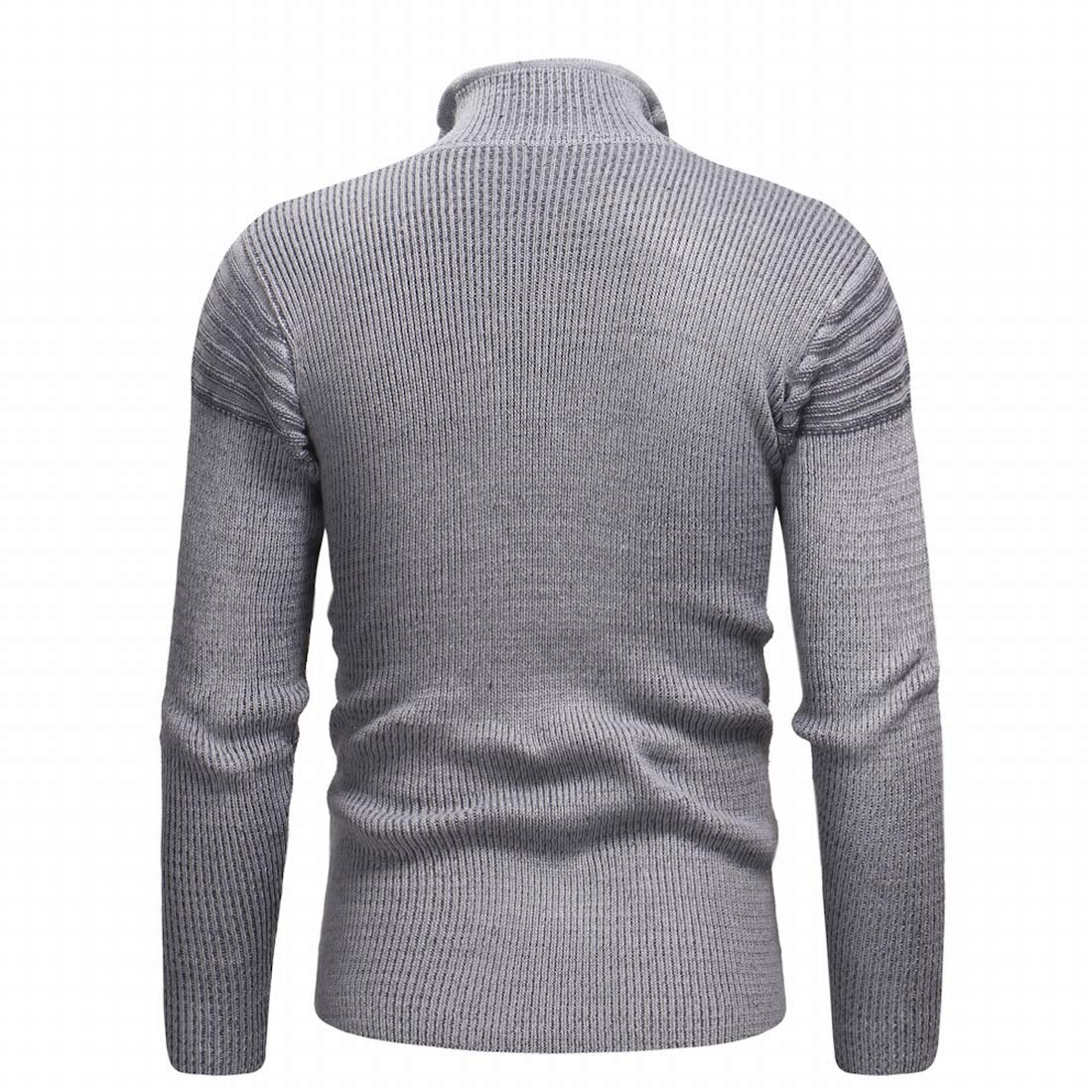 KLJR Men Stand Collar Zipper Ripped Slim Fit Pullover Knitted Sweater