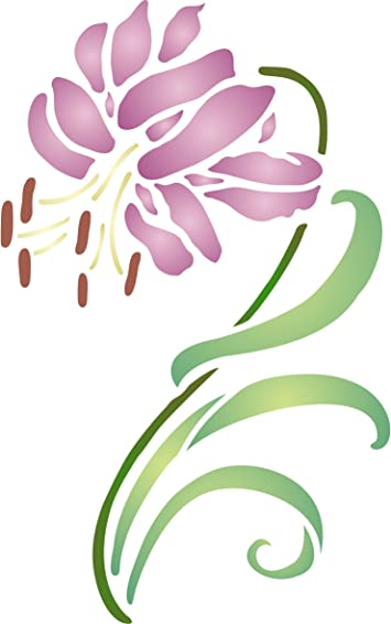 lilly flower stencil  craft,fabric,glass,furniture,wall art up to A0