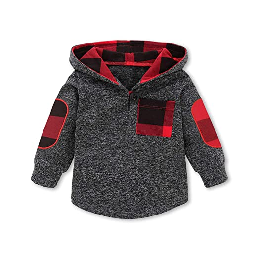 f97dbccda3fc Amazon.com  KONIGHT Kids Toddler Baby Boys Girls Fall Outfit Plaid ...