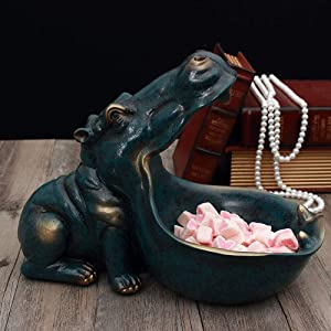 APAN Resin Hippo Sculpture for Desk Home Decoration,Abstract Hippopotamus Statue,Hippopotamus Figure Sculpture with Storage Function D
