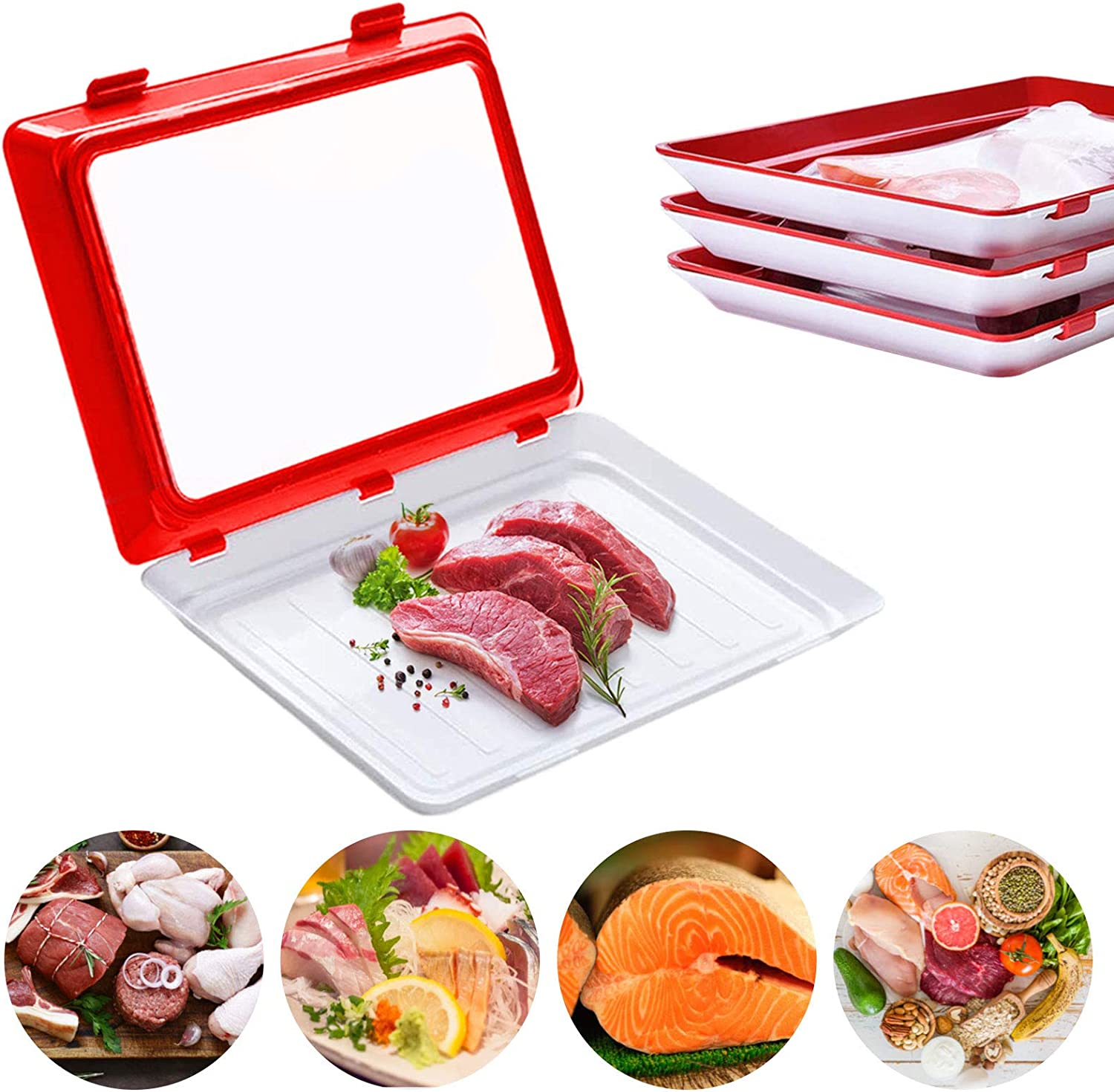 Food Plastic Preservation Tray,Stackable and Reusable Food Preservation Tray Keep Food Fresh for a Long Time for Sealing Food(4 PACK)