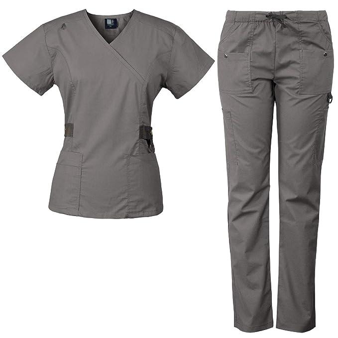 ba4a9372366 Medgear 12-Pocket Women's Scrub Set with Silver Snap Detail & Contrast Trim  (Pewter